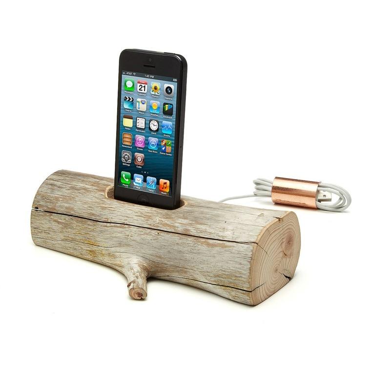 cargadores moviles manualidades madera natural ideas