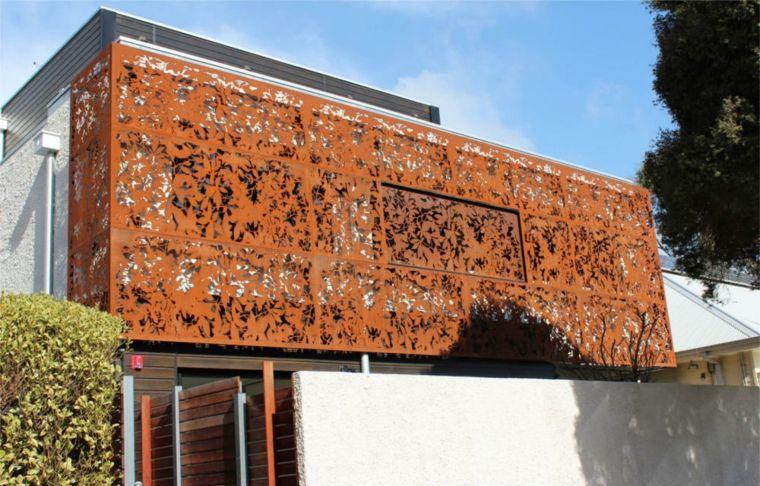 casa paneles corten acero decorativo ideas