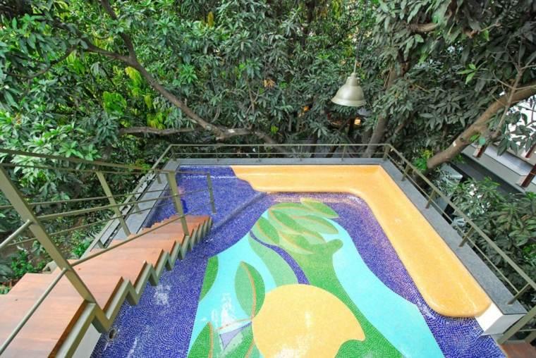 casas diseno Bhopal India terraza mosaico ideas