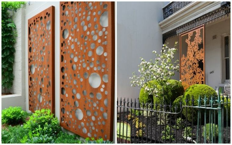 Acero corten en patios y jardines modernos 34 ideas for Decoration murale jardin