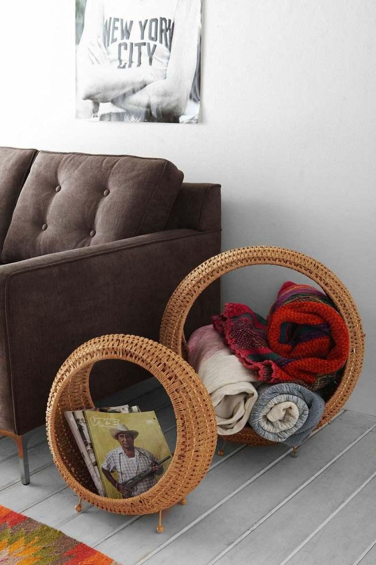 cestos de mimbre opciones insertarlas diseno habitacion sofa original ideas