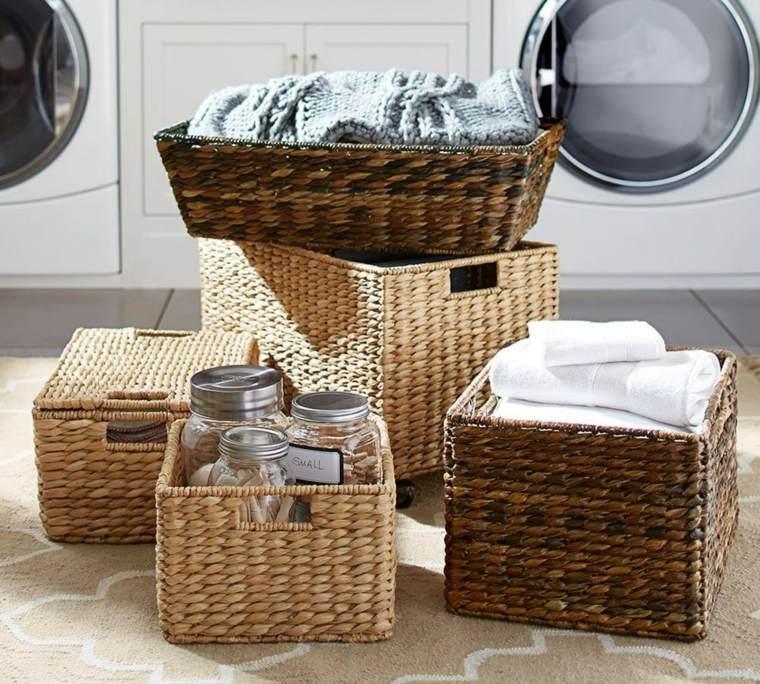 cestos mimbre opciones insertarlas diseno habitacion ropa lavada ideas