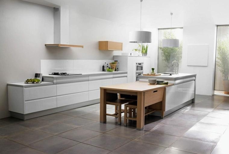 cocina creativa blanca diseno detalles aluminio madera ideas