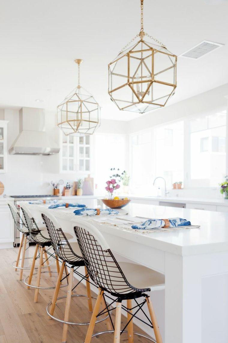 cocina creativa blanca diseno detalles lamparas brillantes ideas
