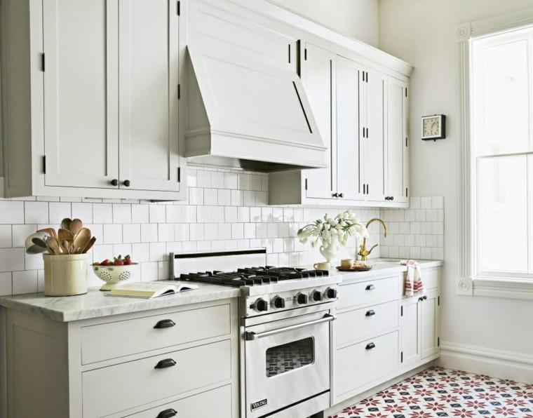 cocina creativa blanca diseno detalles suelo flores preciosos ideas