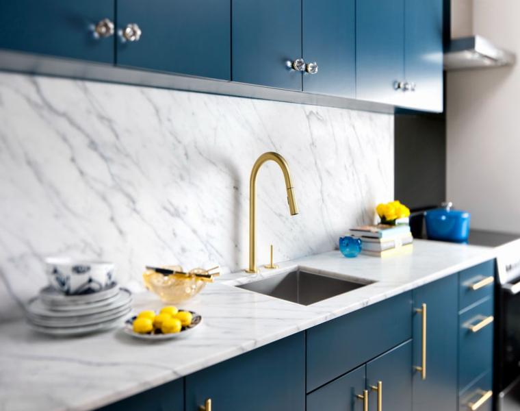 cocina modena muebles gabinetes azules
