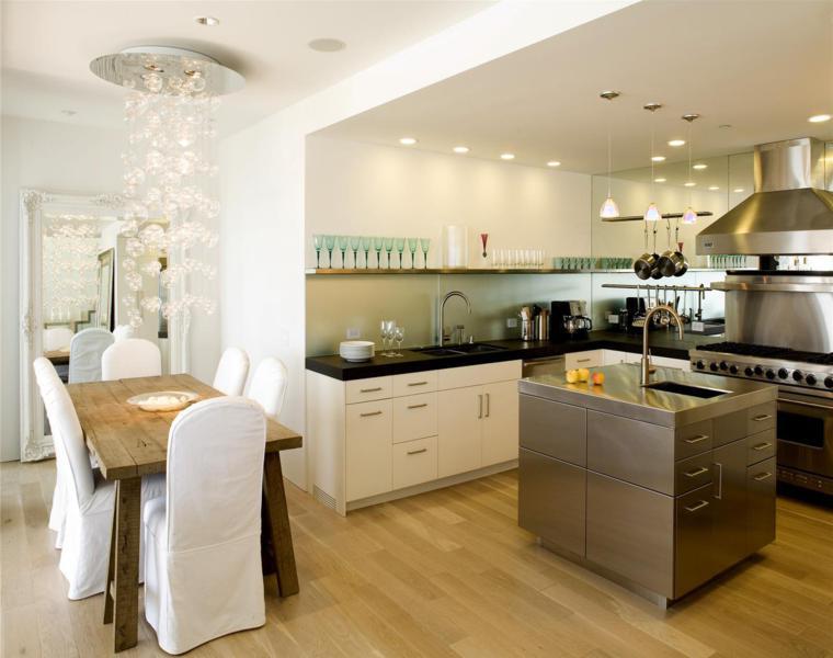 cocina moderna isla acero