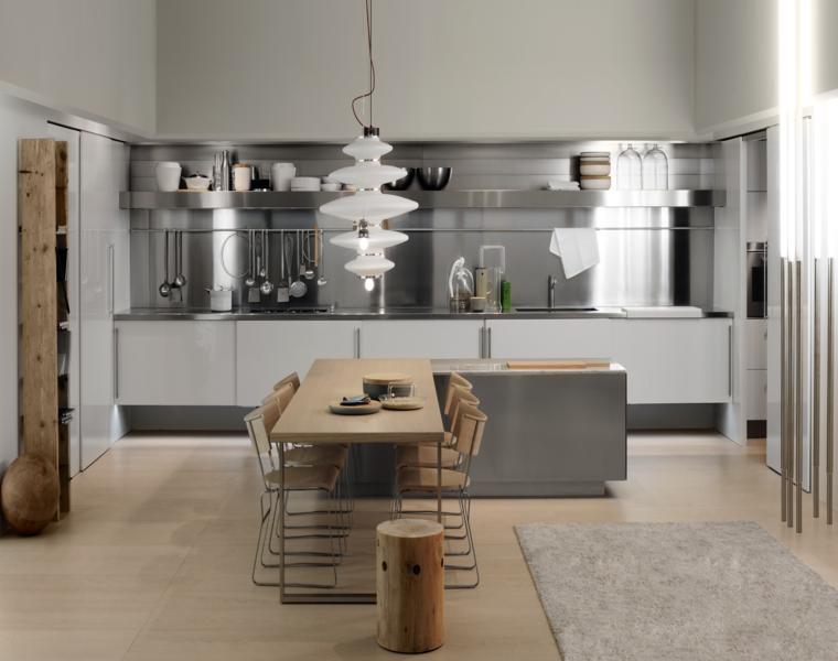 cocina moderna salpicadero acero inoxidable