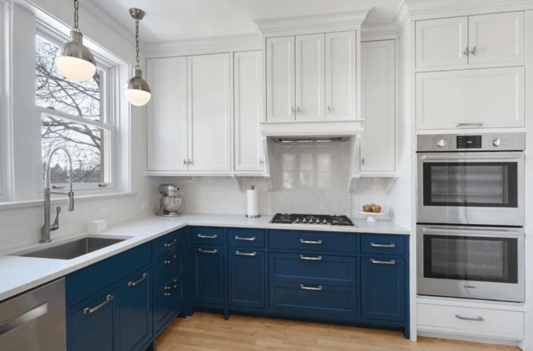 Cocina blanca 42 dise os de cocinas que te encantar n - Cocina blanca y azul ...