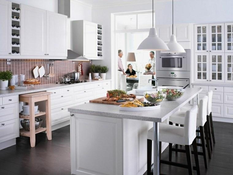 cocina muebles blancos pared losas color rojo ideas