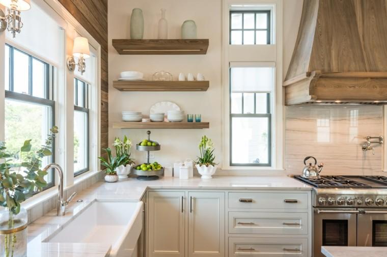 cocinas lujosa blanca moderna diseno estanterias abiertas ideas