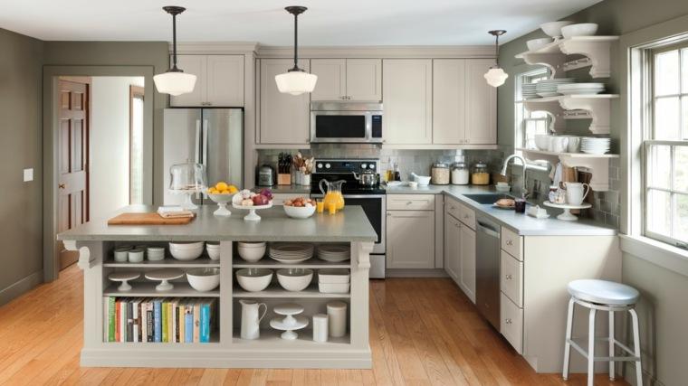 cocinas lujosa blanca moderna diseno isla color gris ideas
