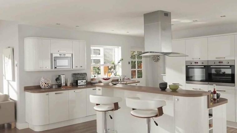 cocinas lujosa blanca moderna diseno isla grandes ideas