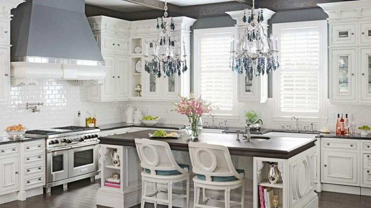 cocinas lujosa blanca moderna diseno lamparas ideas