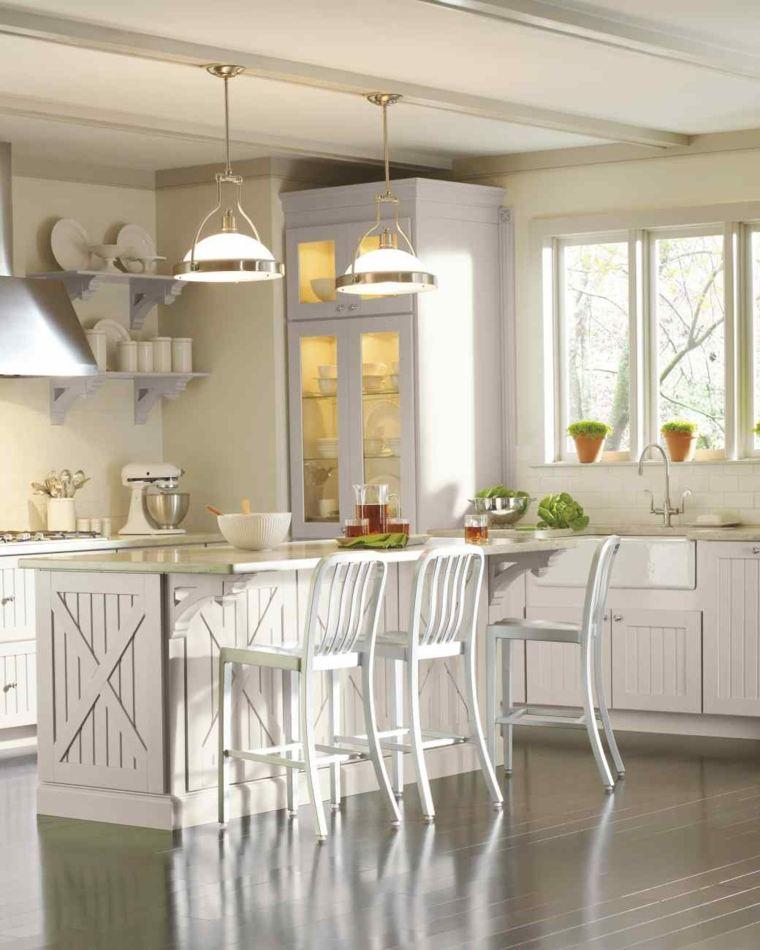 cocinas lujosa blanca moderna diseno muebles madera blanca ideas
