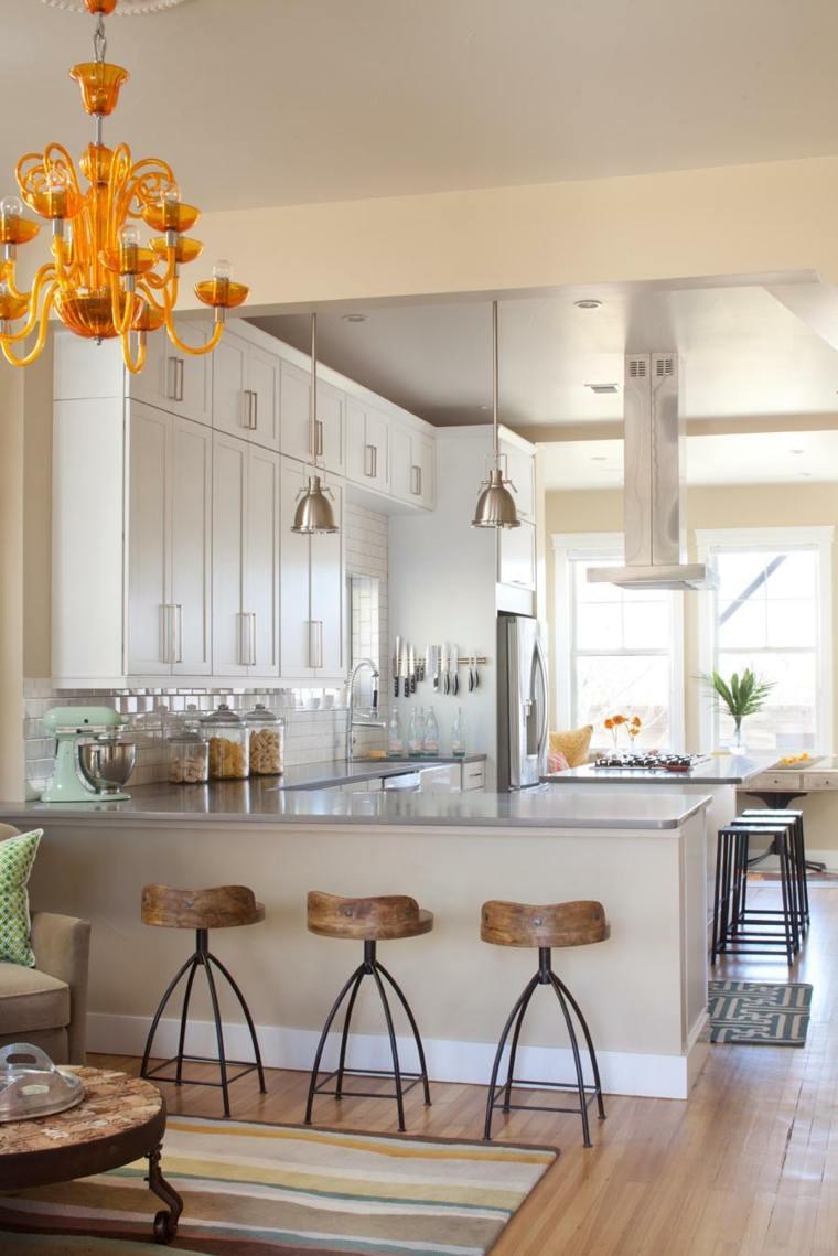 cocinas lujosa blanca moderna diseno tabuteres madera ideas