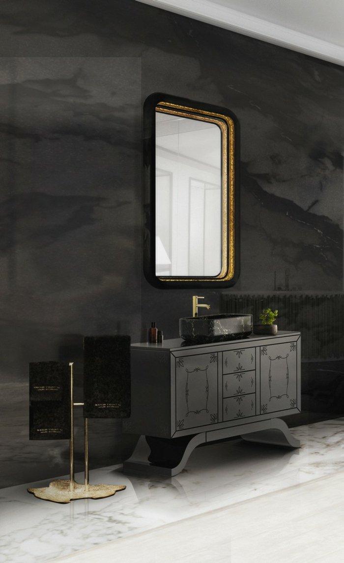 colores dramaticos estantes dorados marmol