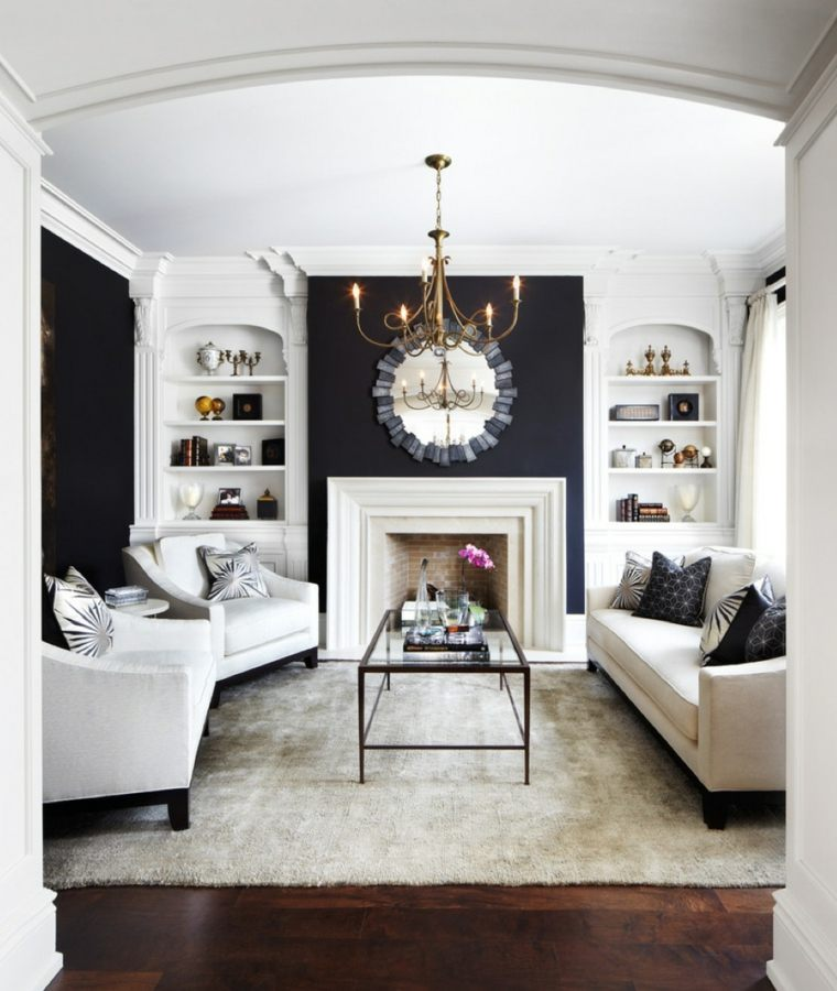 combinacion blanco negro salon urbano moderno ideas
