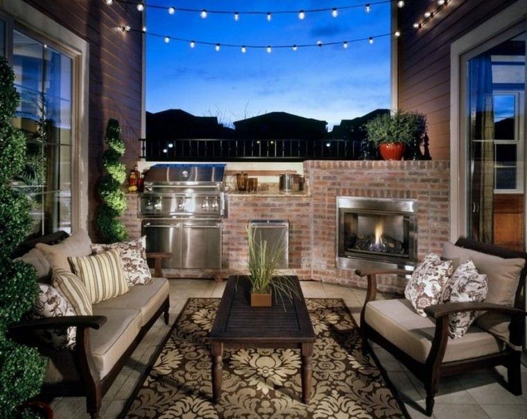como decorar terraza alfombra iluminacion barbacoa ideas