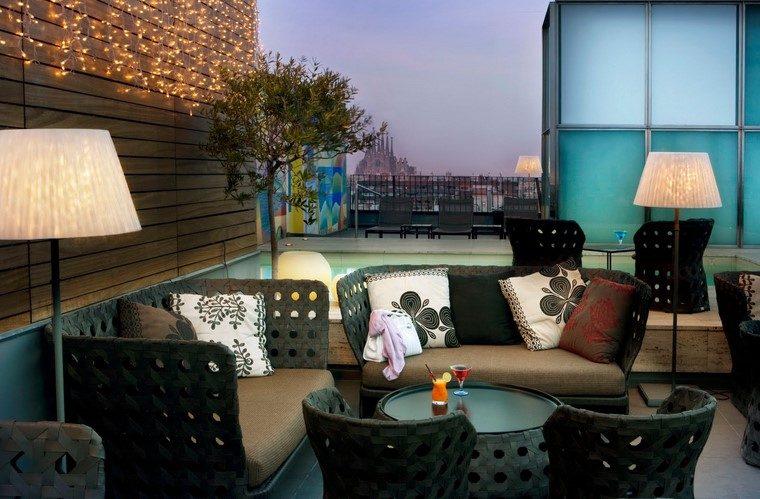 como decorar terraza lamparas pie muebles modernos ideas