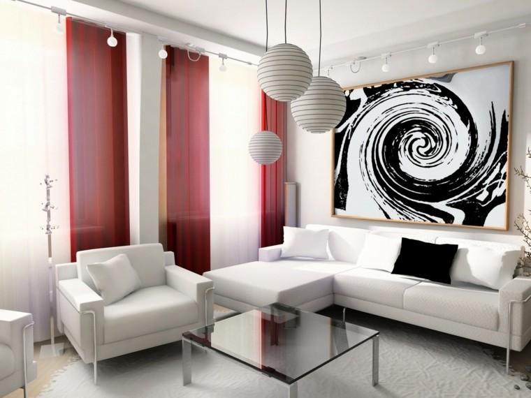 apartamento moderno cortinas rojas