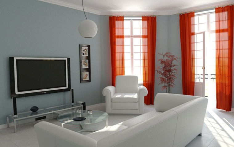 cortinas modernas color naranja
