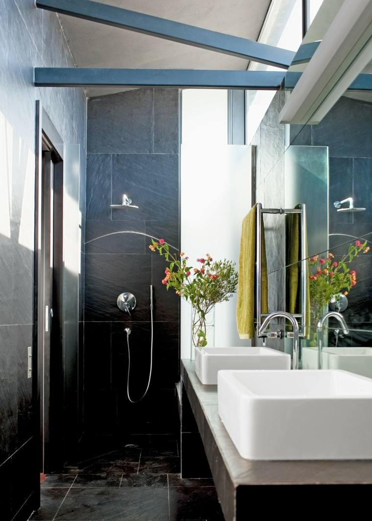 Baños Gris Con Blanco:Ideas de losas de color gris muy grandes en el baño pequeño