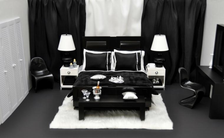 decorar dormitorio blanco negro