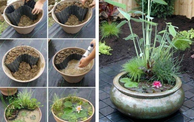 decoración mini jardin loto