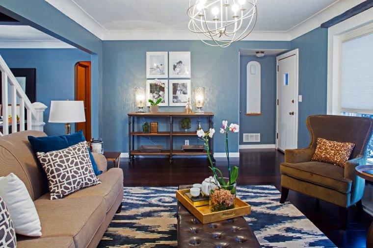 decoración salon color azul