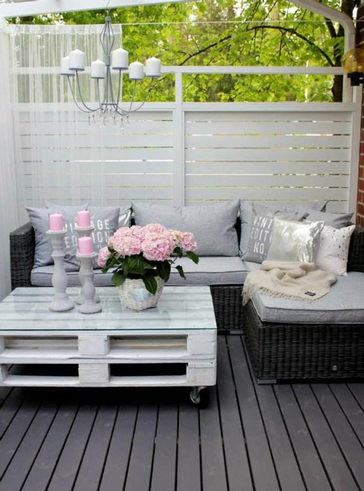 decoración terraza mesilla palet