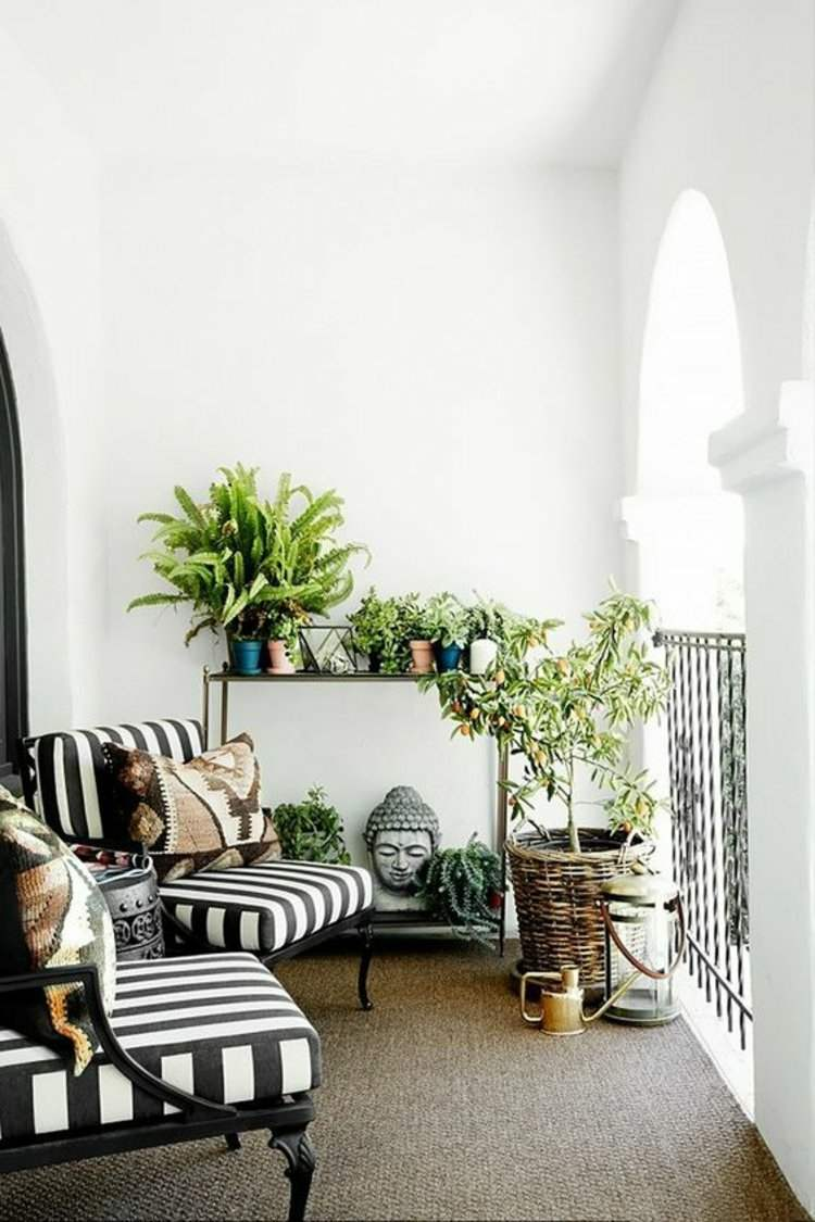 decorar terrazas sillones rayas