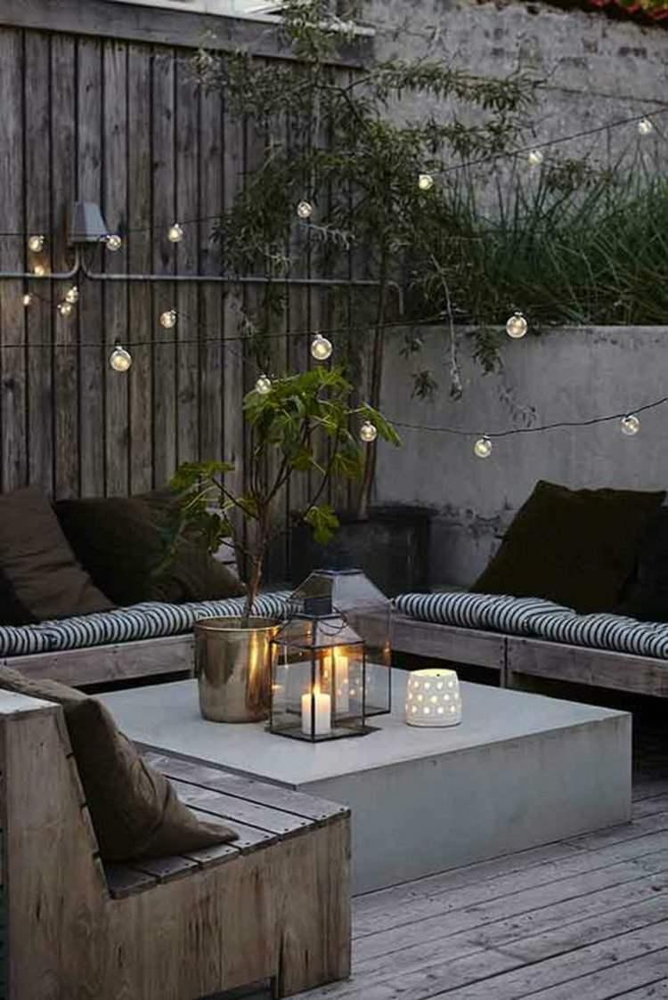 decoración terraza faroles velas