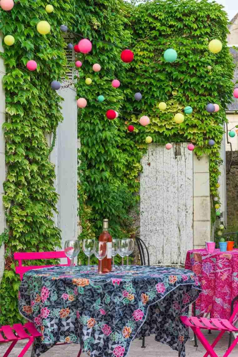 decoracion de terrazas diseño color guirnaldas manteles