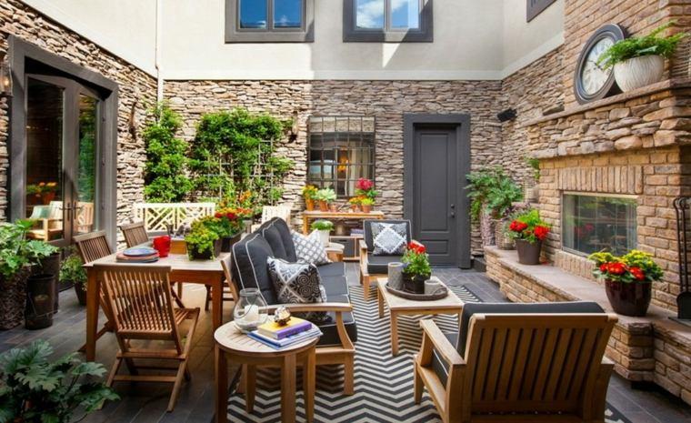 decoracion de terrazas diseño mesas especiales ladrillos