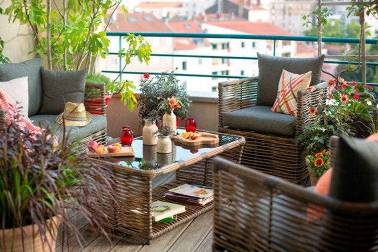 decoracion de terrazas diseño muebles fibras plantas