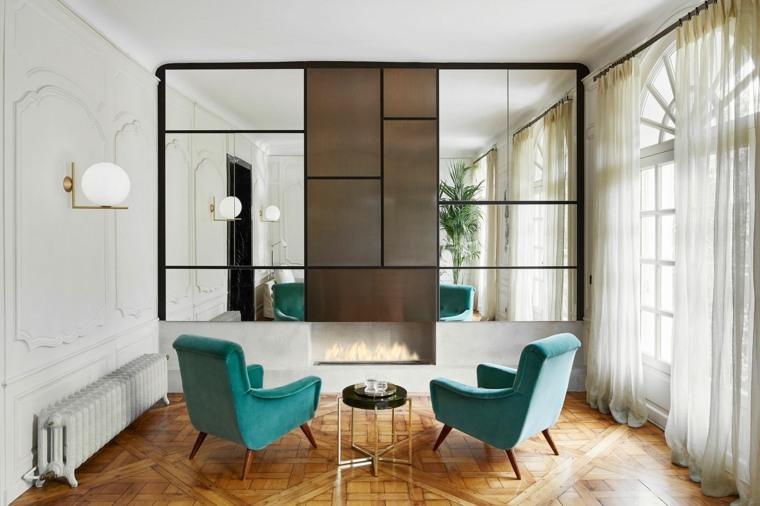 decoracion estilo vintage diseno sillones espejos ideas