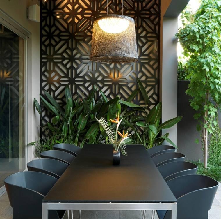 decoracion exterior comedores lamparas
