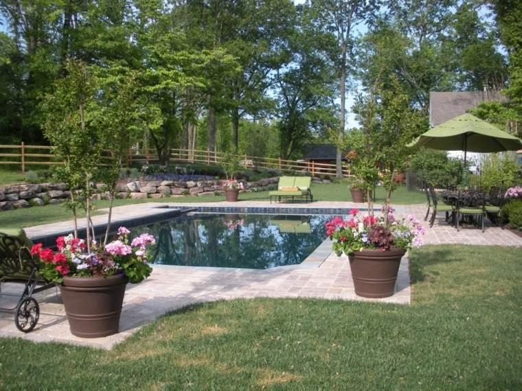 decoracion exterior piscinas especiales flores macetas