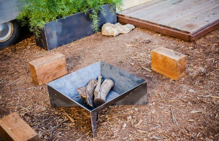 decoracion fuego acero formas moderno plantas