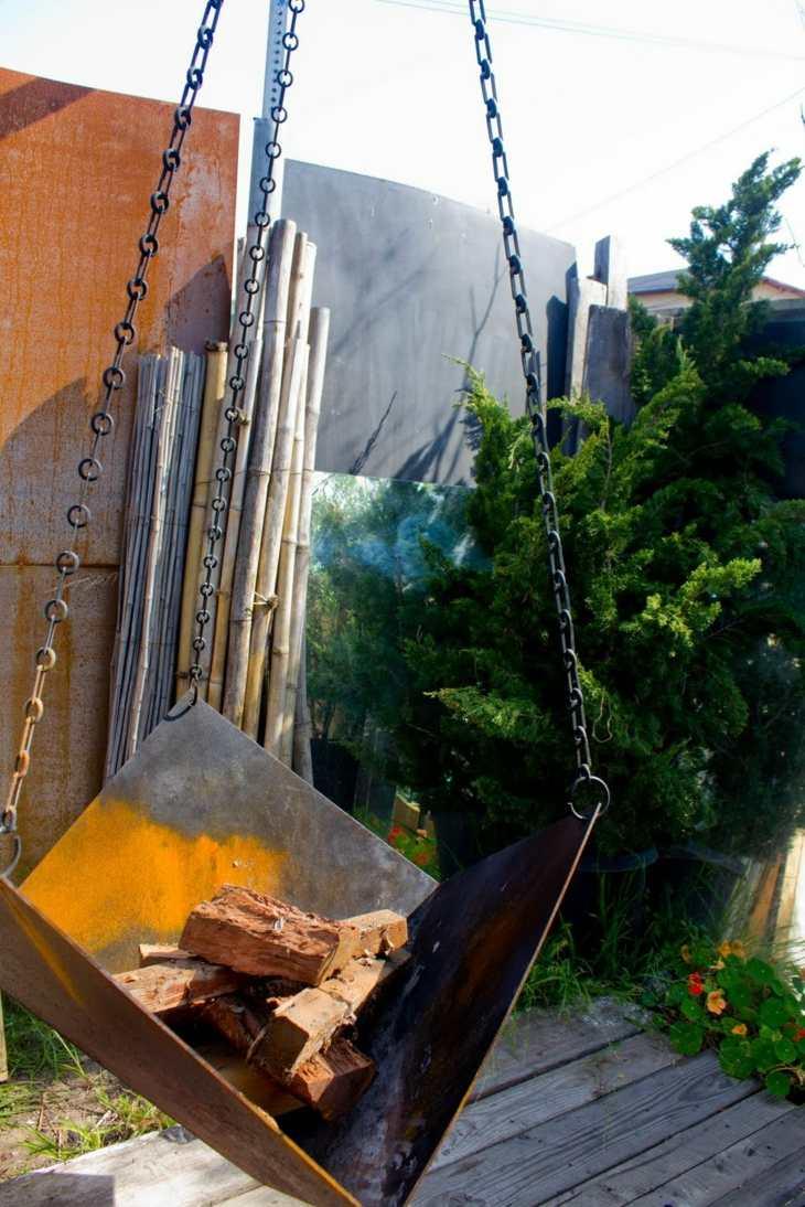 decoracion fuego cadenas colgantes acero