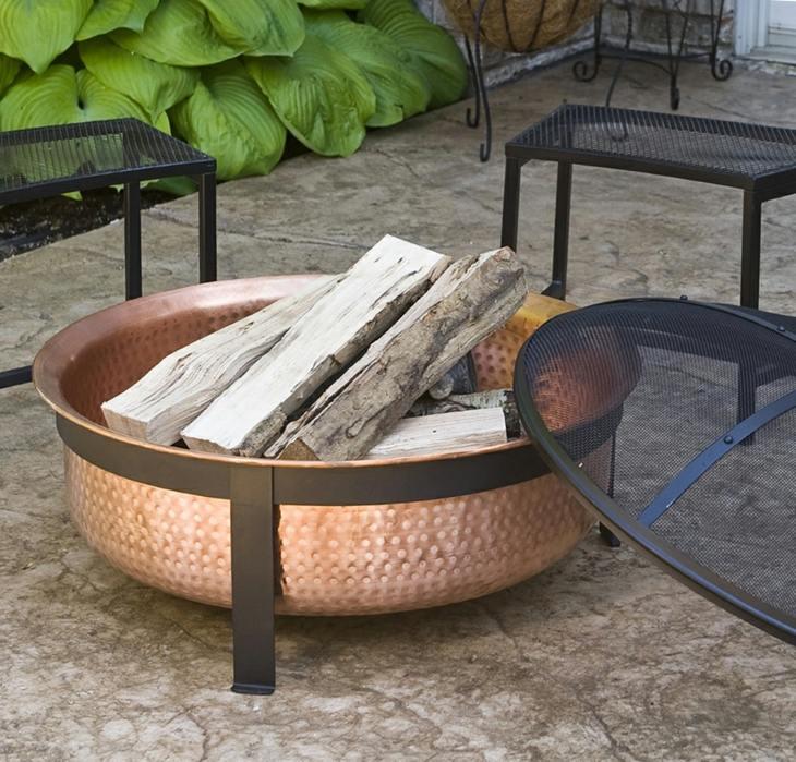 decoracion fuego cobre redondeado lenas
