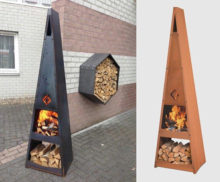 decoracion fuego especiales piramidal triangular