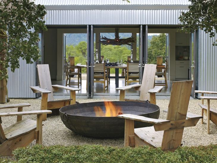decoracion fuego madera conceptos grava