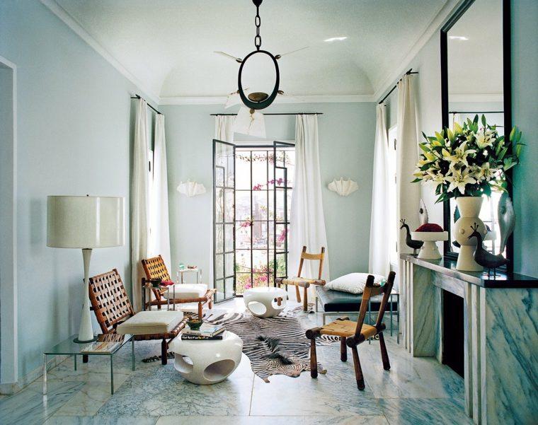 decoracion salon diseno espejo grande chimenea ideas