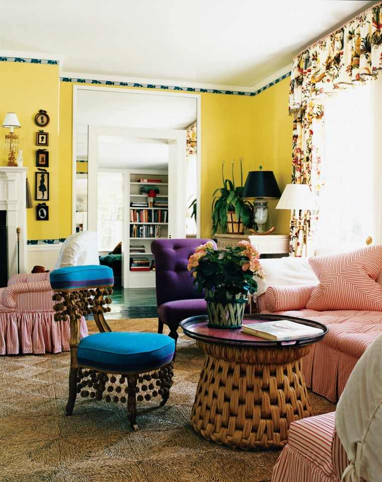 decoracion salon diseno muebles coloridos ideas