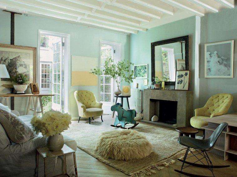 decoracion salon diseno paredes azules muebles blancos ideas