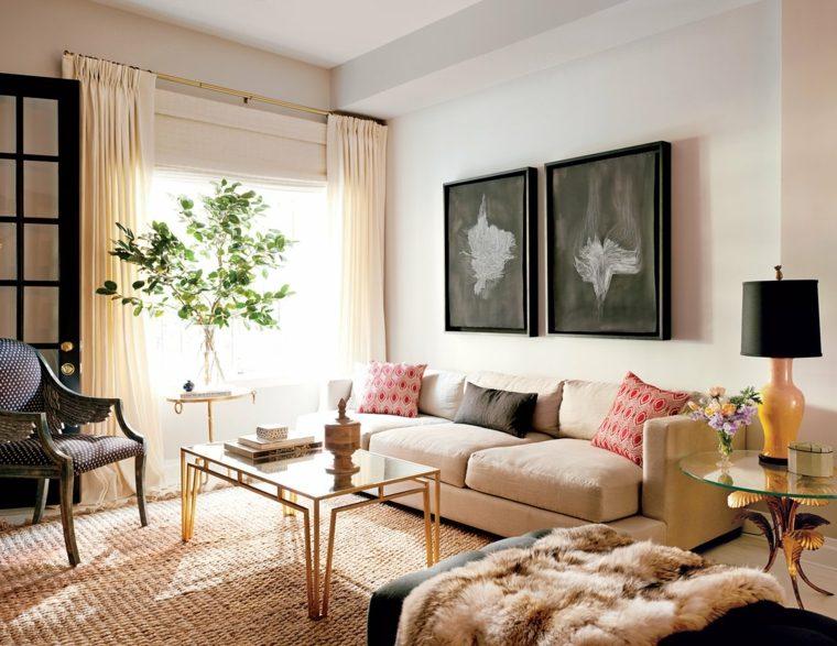decoracion salon diseno plantas mesitas preciosas ideas