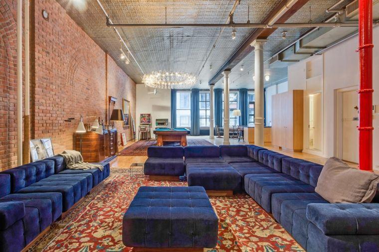 decoracion salon diseno sofa modular color azul vibrante ideas