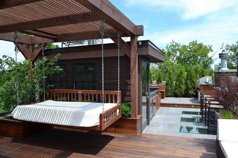 Decoracion Terrazas Aticos ~ decoracion terraza atico diseno cama balanceante madera ideas